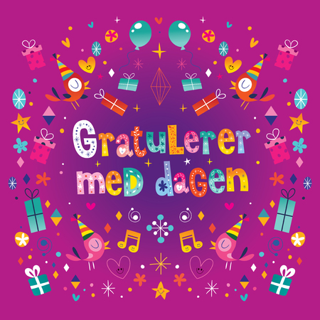 Gratulerer med dagen Happy Birthday in Norwegian greeting card