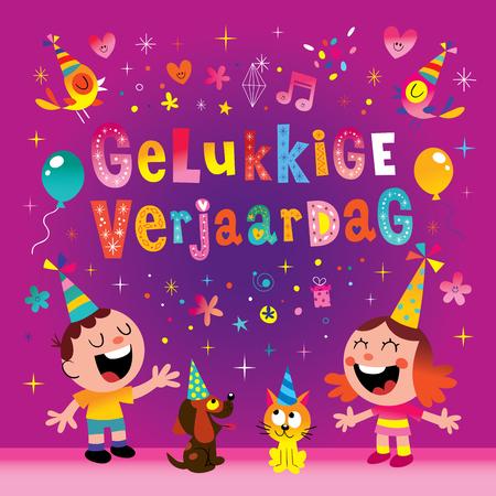 Dutch Holland Netherlands Gelukkige verjaardag-wenskaart Stockfoto - 93363962