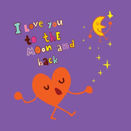 I love you to the Moon and back illustration.