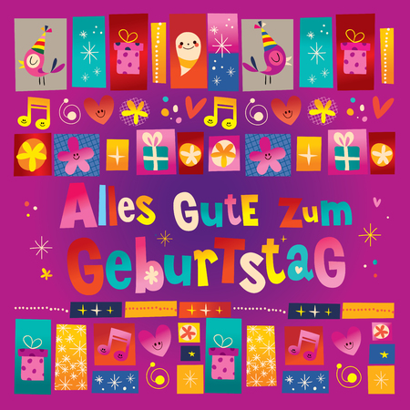 Alles Gute zum Geburtstag Deutsch German Happy birthday Illustration