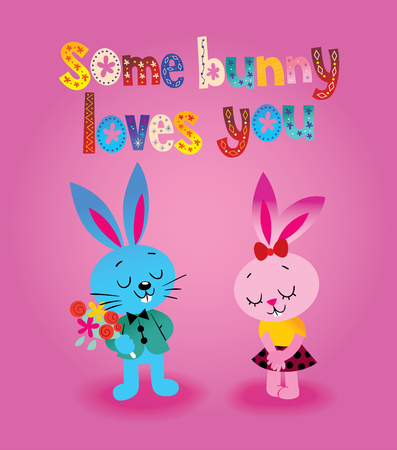 Some bunny loves you card colorful pattern design Çizim