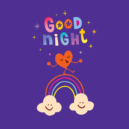 Good night calligraphy with cute cartoon heart and clouds. Vectores