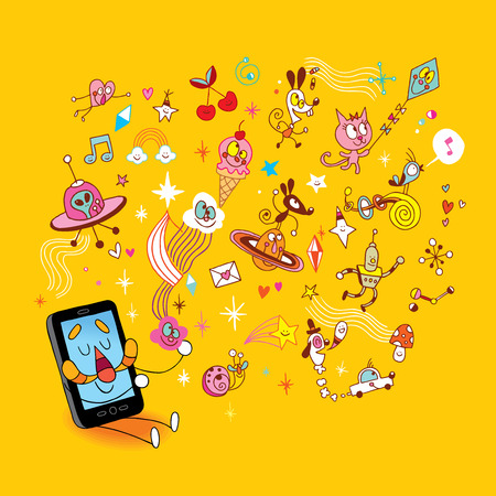 Smart phone sending fun cartoon characters Illustration