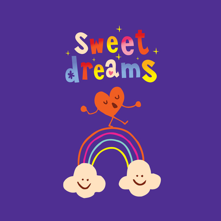 Sweet dreams calligraphy with cute cartoon heart and clouds.
