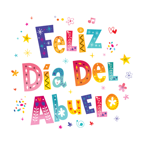 Feliz dia del abuelo Happy grandparent day in Spanish text lettering design Иллюстрация
