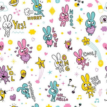 귀여운 토끼 원활한 패턴 일러스트