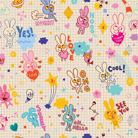 bunnies cartoon seamless pattern