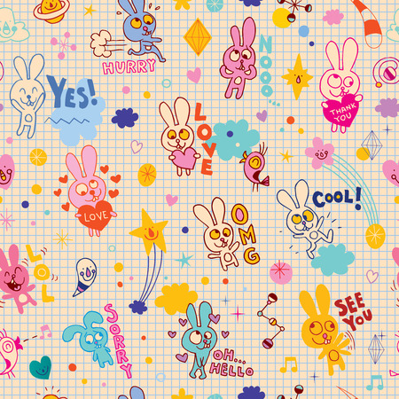 bunnies cartoon seamless pattern