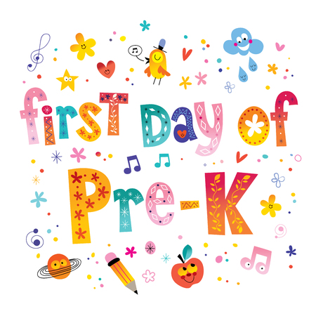 First day of pre K - unique lettering kids design