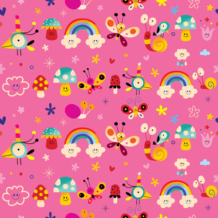 snails, flowers, mushrooms, rainbows cute characters nature seamless pattern
