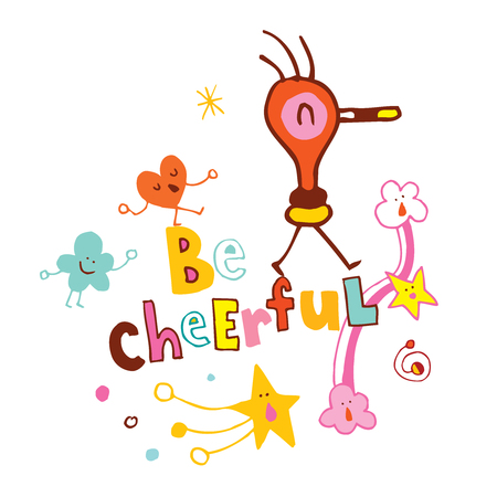 be cheerful cartoon characters design