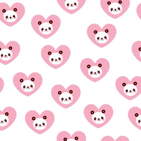 귀여운 팬더 곰 및 마음 원활한 패턴