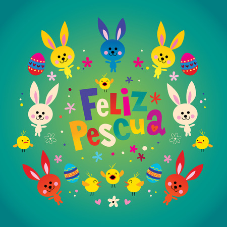 Feliz Pascua Happy Easter in Spanish greeting card