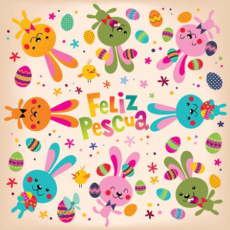Feliz Pascua Happy Easter in Spanish retro design