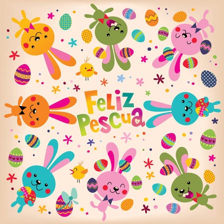 Feliz Pascua Happy Easter in Spanish retro design