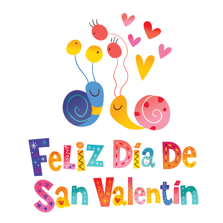 Feliz dia de San Valentin Happy Valentines Day in Spanish card Illustration