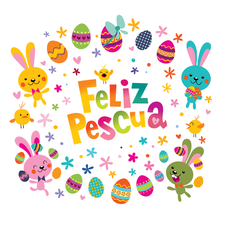 Feliz Pascua Happy Easter in Spanish greeting card with cute bunnies