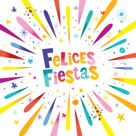 Felices Fiestas greeting card festive banner Happy Holidays in Spanish