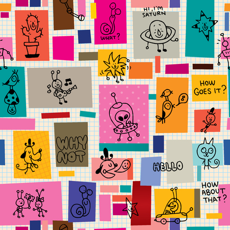 Collage cartoon characters doodle pattern