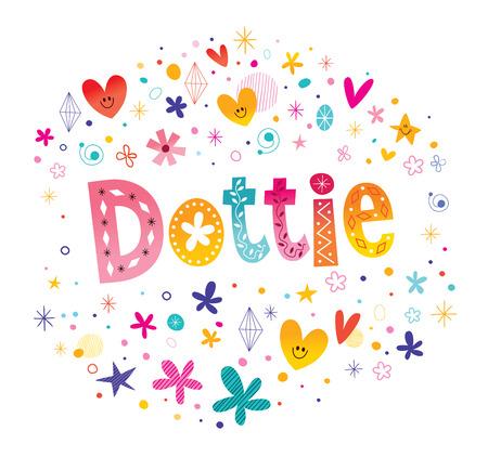 ドットティーの女の子の名前装飾的な文字タイプのデザイン  イラスト・ベクター素材