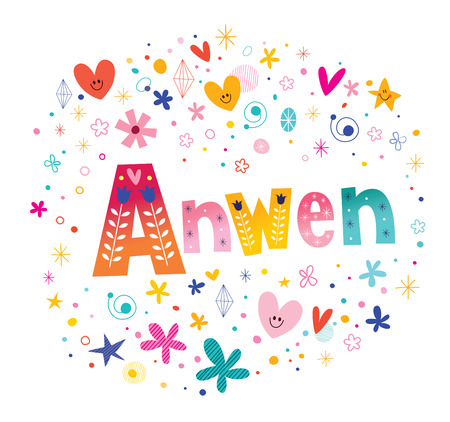 Anwen girls name decorative lettering type design illustration.