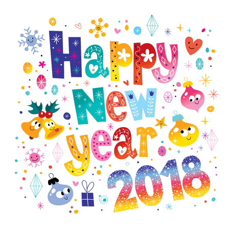 Happy New year 2018 card colorful pattern design.