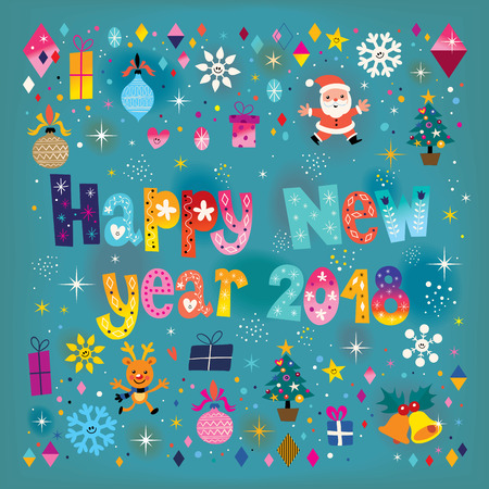 Happy New year 2018 retro greeting card  colorful pattern design. Illustration