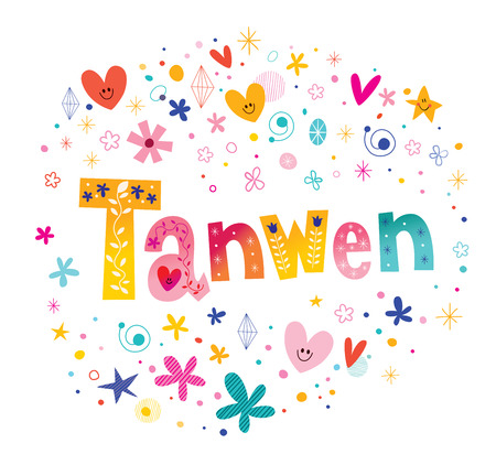 Tanwen girls name decorative lettering type design