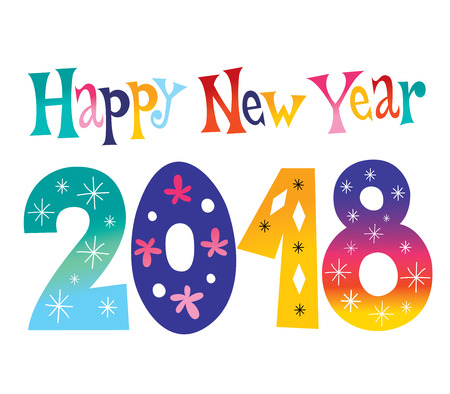 Happy New year 2018  colorful pattern design.