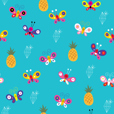 butterflies pineapples ananas diamonds seamless pattern Illustration