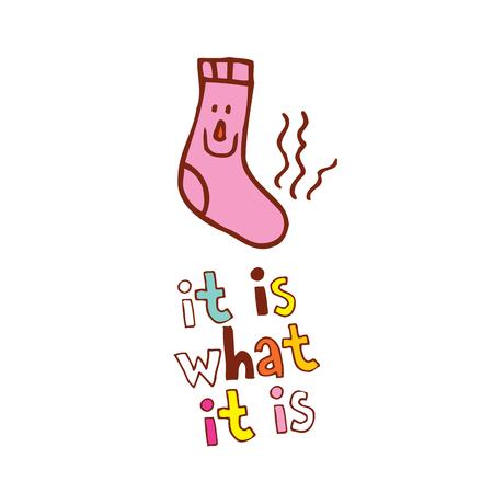 es ist, was es ist - eine idiomatische Phrase, lustiger stinkender Socken-Comic-Cartoon