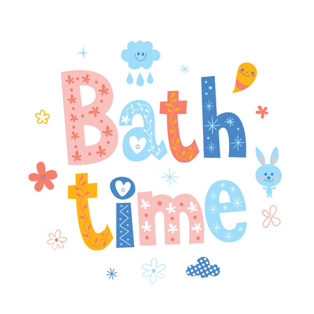 Bath time baby lettering design.