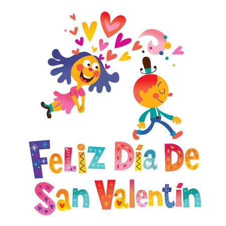 Feliz dia de San Fest oder Happy Valentinstag in Spanisch Standard-Bild - 93858882