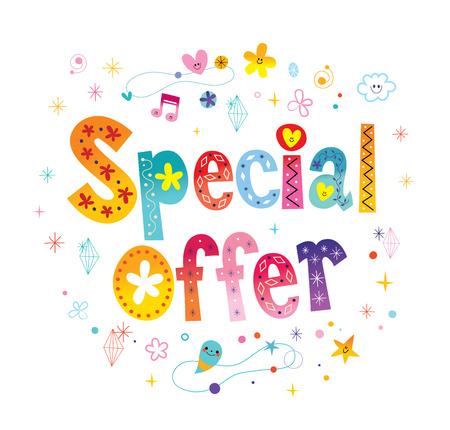 special offer signage poster decorative lettering Illustration