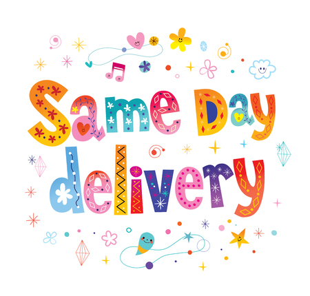 Same day delivery signage poster decorative lettering