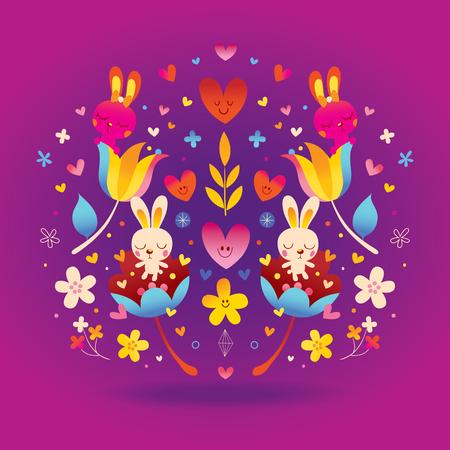 Flowers, bunnies, hearts love illustration