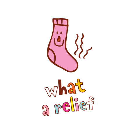 what a relief - funny smelly sock comic cartoon character Illusztráció
