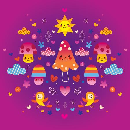 mushrooms, flowers, hearts & birds nature illustration