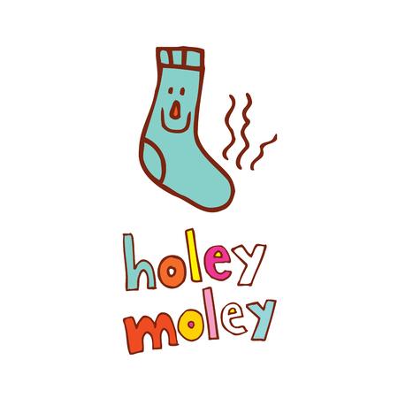 holey moley - een uitdrukking gebruikt in ongeloof, wanneer je sprakeloos bent - grappige stinkende sok strip cartoon