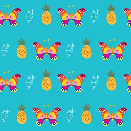 butterflies pineapples ananas diamonds seamless pattern Ilustração
