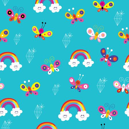 butterflies rainbows diamonds seamless pattern