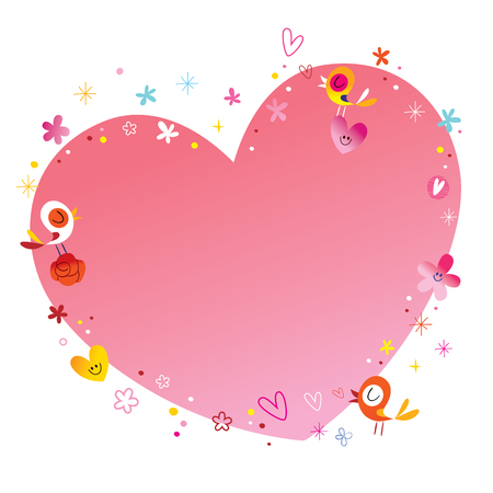 Heart frame with flowers and birds Иллюстрация