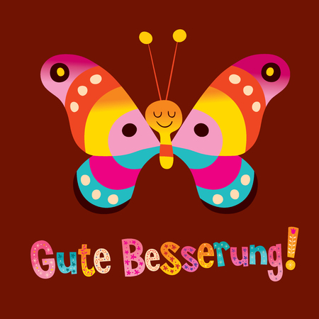 Gute Besserung - get well soon in German - greeting card 일러스트