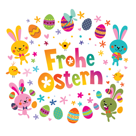 Frohe Ostern Happy Easter in German greeting card with cute bunnies