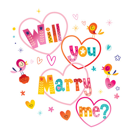 Will you Marry me typography lettering decorative text wedding design Ilustração
