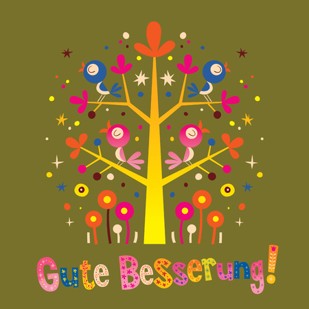 Gute Besserung - Get Well Soon in German - greeting card with cute birds