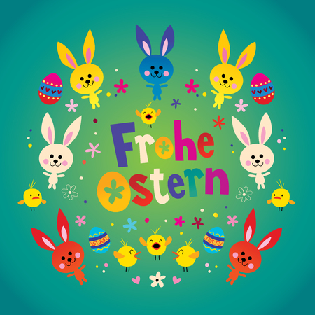 Frohe Ostern - Happy Easter in German greeting card