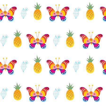 蝶パイナップルダイヤモンドシームレスパターン