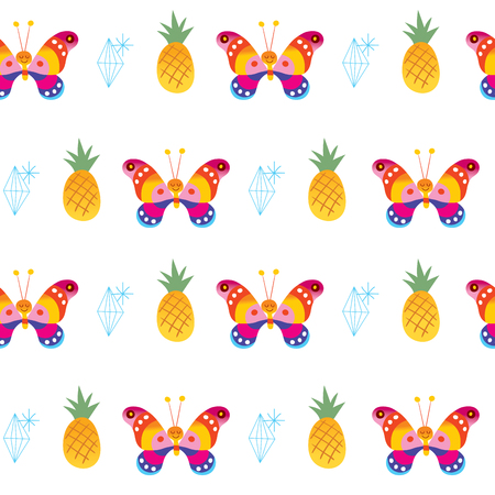 Butterflies pineapples diamonds seamless pattern