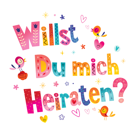Willst du mich heiraten - Will you Marry me in German Stok Fotoğraf - 94145137